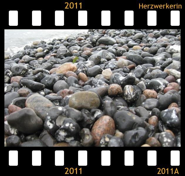 Ein Strand voller schwarzer Feuersteine